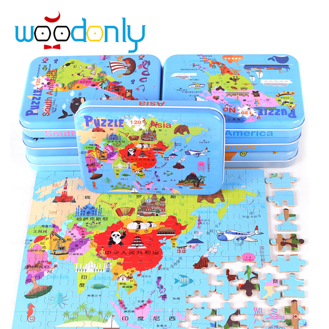 Toys for children montessori 120 Pieces Intercontinental Map Iron-box Puzzle Board Baby Kid Educational Kids oyuncak