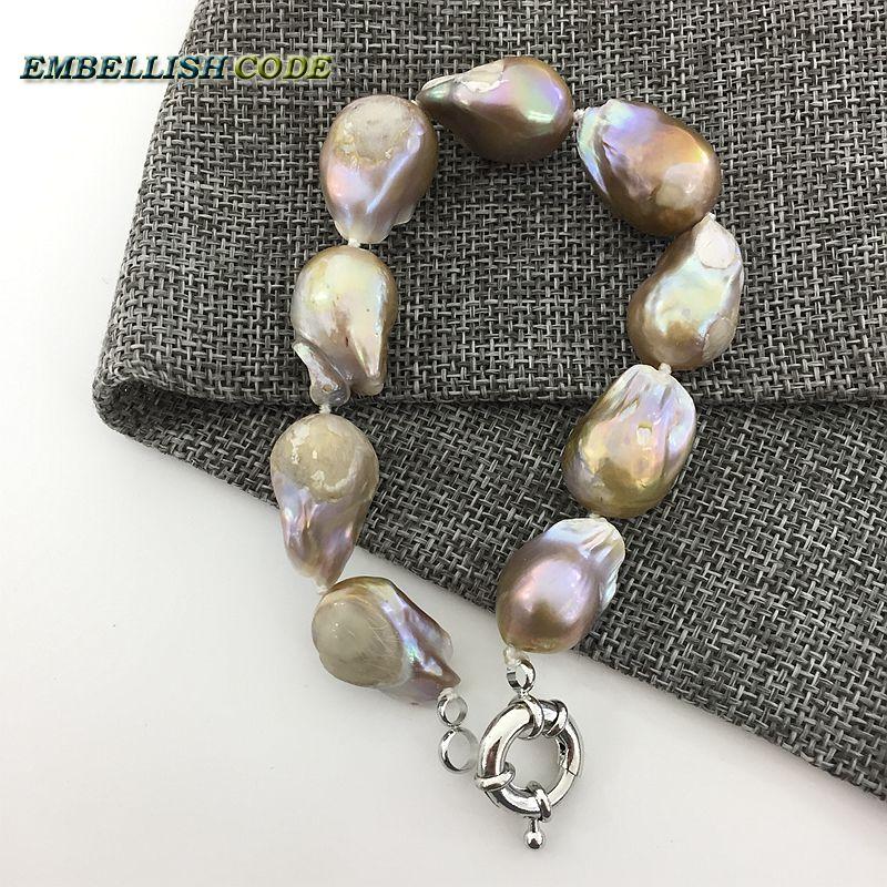 21faff51cd01 Tamaño grande púrpura pulsera de oro tejido nucleated llama bola forma  barroco keshi perlas de agua dulce natural perlas especial en Brazaletes de  Joyería y ...