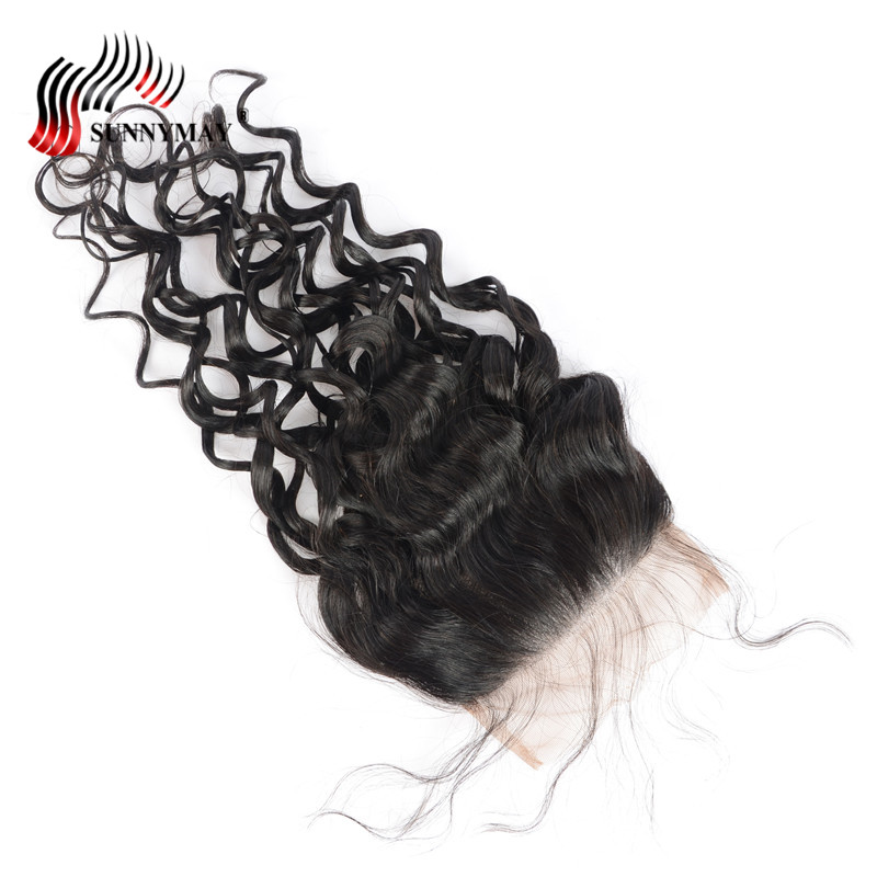 Sunnymay 5x5 Water Wave Lace Closure Brazilian Virgin Hair Top Closure With Baby Hair Pre Plucked