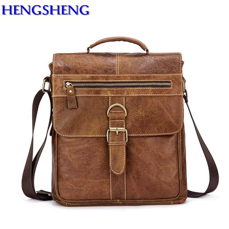 все цены на HENGSHENG Fashion Cow leather men messenger bag for business men vertical shoulder bag of genuine leather men crossbody bags
