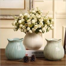 American-style country high-grade striped ceramic vase handicraft decorative desktop flower home decoration accessories