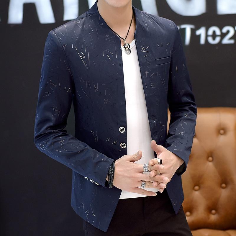 HO 2019 Men 's casual collar collar blazers youth handsome trend Slim print blazers 2
