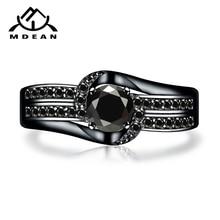 MDEAN negro oro Color boda anillos para las mujeres de compromiso negro AAA Zircon joyería Femme Bijoux Bague tamaño 6 7 8 9 10 H437