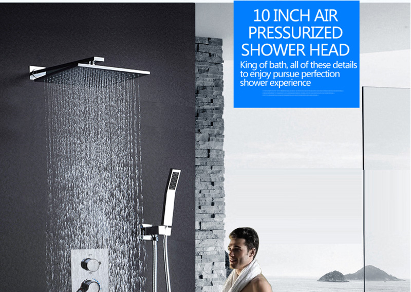 DCAN Bathroom Luxury Rain Mixer Shower Combo Set Wall Mounted 10'' Rainfall Shower Head System Polished Chrome (1)