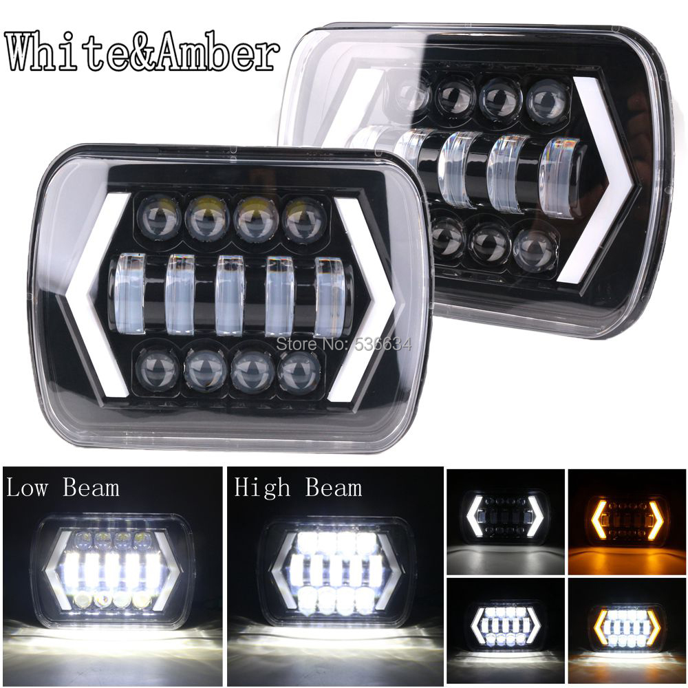 1Pair 7 Inch <font><b>Square</b></font> Led <font><b>Headlights</b></font> High/Low Beam DRL Turn Light H4 Auto for Jeep Wrangler YJ, Jeep Cherokee XJ image
