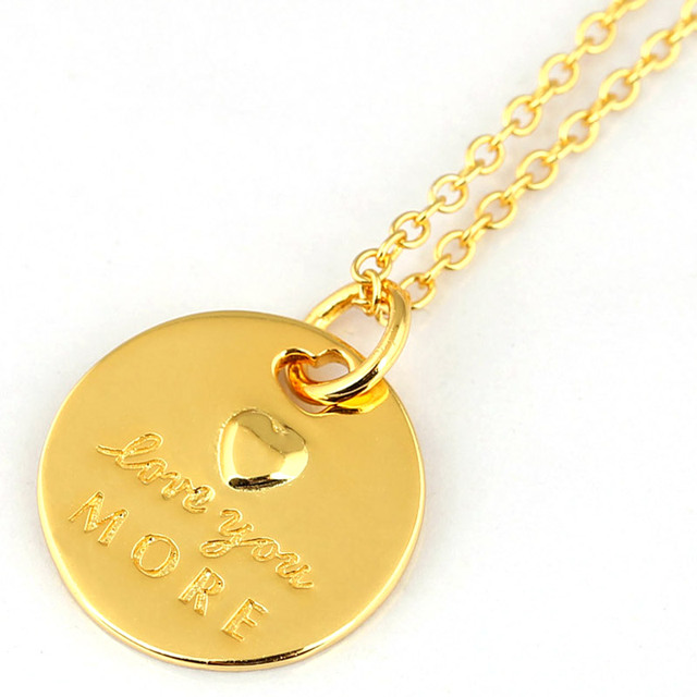 0856d02ce New Gold Color Love Statement Pendant Love You More Necklace For Women  Wedding Gift Diy Jewelry 925 Sterling Silver Necklace