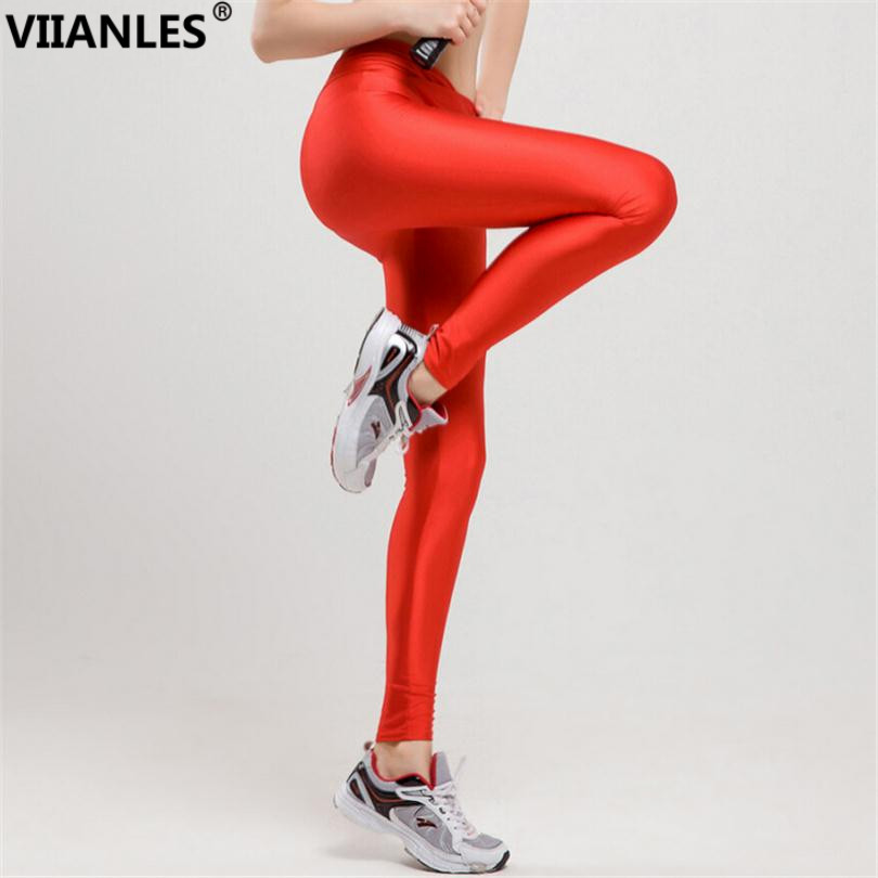 VIIANLES Fitness Leggings V High Waist Pants Sportswear Elastic Neon Workout Leggings Women Jegging Shiny Leggins Candy Colors