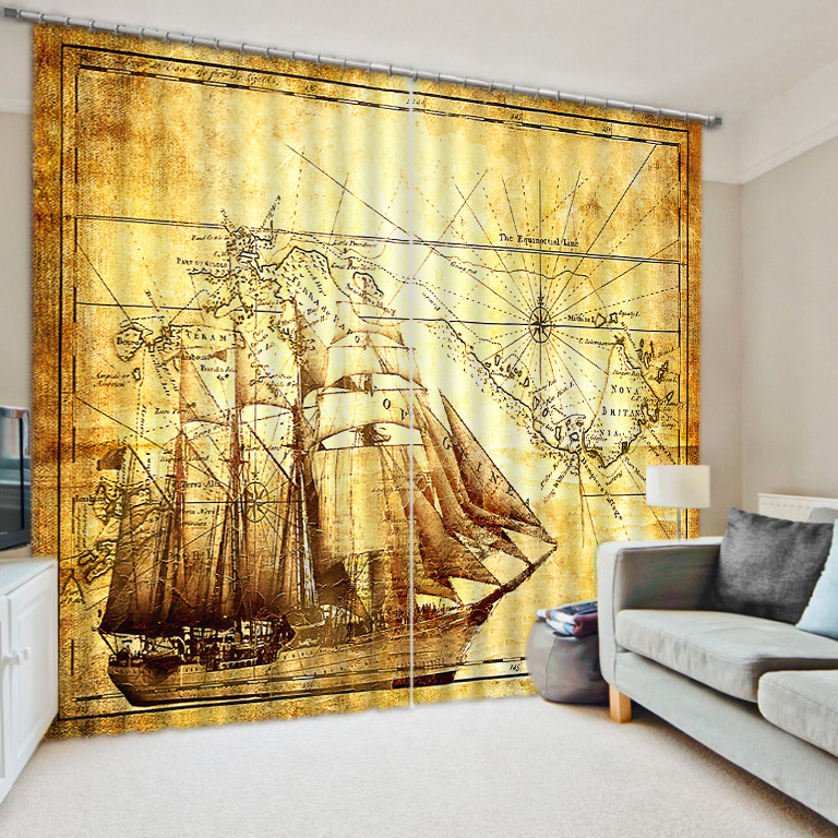 Home Decor Modern Customize 3D Photo Sailboat Map Curtains Blackout Curtains  For Living Room Bedroom Vintage Curtain