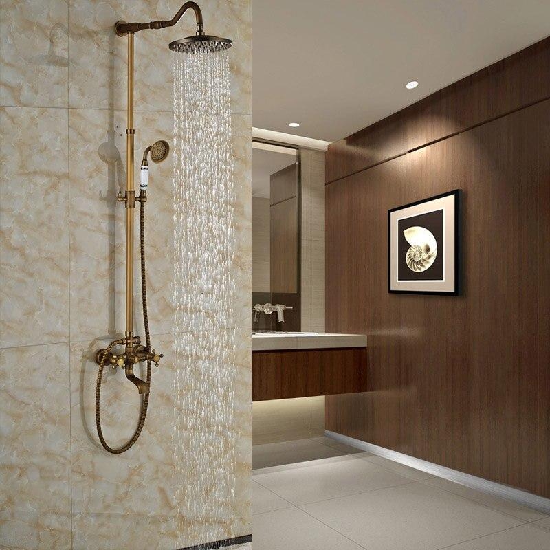 Bathroom Shower Faucet Antique Brass Dual Handles with 8 Rainfall Shower Head