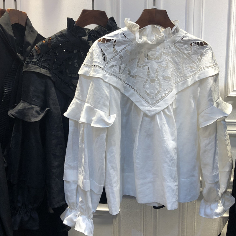 WISHBOP WOMAN WHITE Embroidered Blouse TOP Ruffles Neck Long Puff Sleeved WITH Ruffles Elastic Cuffs HIGH QUALITY TOPS 2019