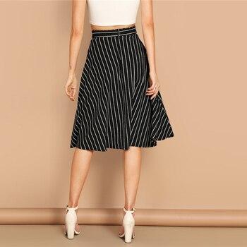 Falda midi boho rayas cintura alta primavera 1