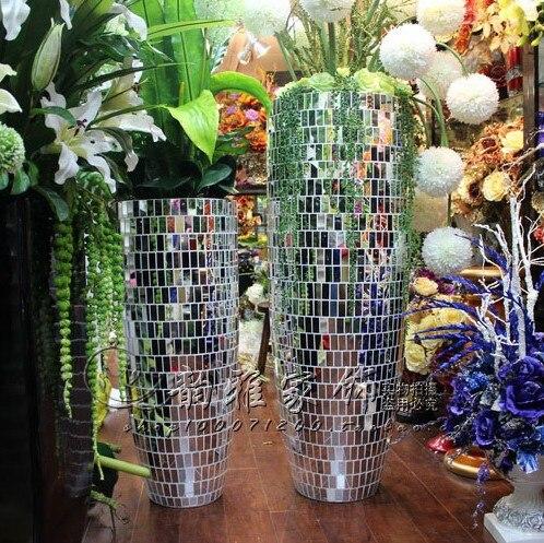Fashion Modern Brief Fashion Mosaic Floor Vase Home Big Vase