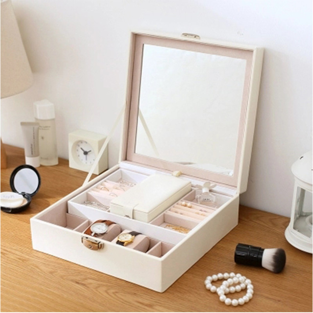 Joyería Europea maquillaje PU de almacenamiento con espejo mujeres joya ataúd relojes cajas organizador contenedor