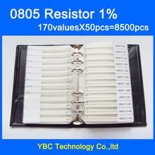 0805 SMD образец резистора книга 1% Допуск 170valuesx50 шт = 8500 шт Резистор Комплект 0R~ 10 м