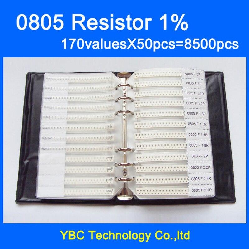 Бесплатная доставка 0805 SMD резистор книга образца 1% Допуск 170valuesx50pcs = 8500 шт. Резистор Комплект 0R ~ 10 м