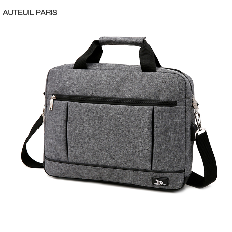 USB Charging Briefcase Simple Laptop Handbag Casual Mens Business Protfolio Maletin Hombre Oxford Factory AUTEUIL