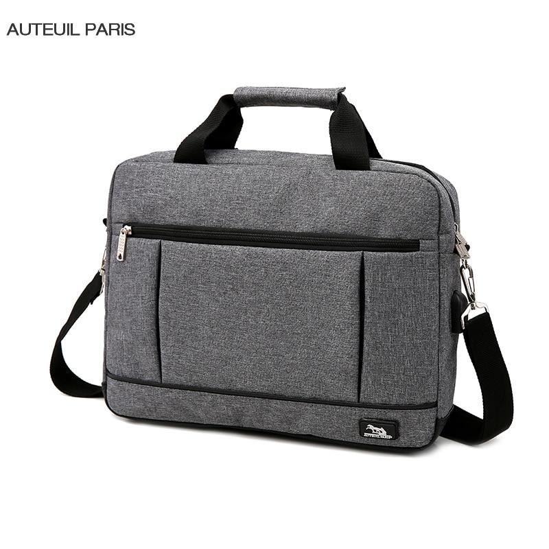 USB Charging Briefcase Simple Laptop Handbag