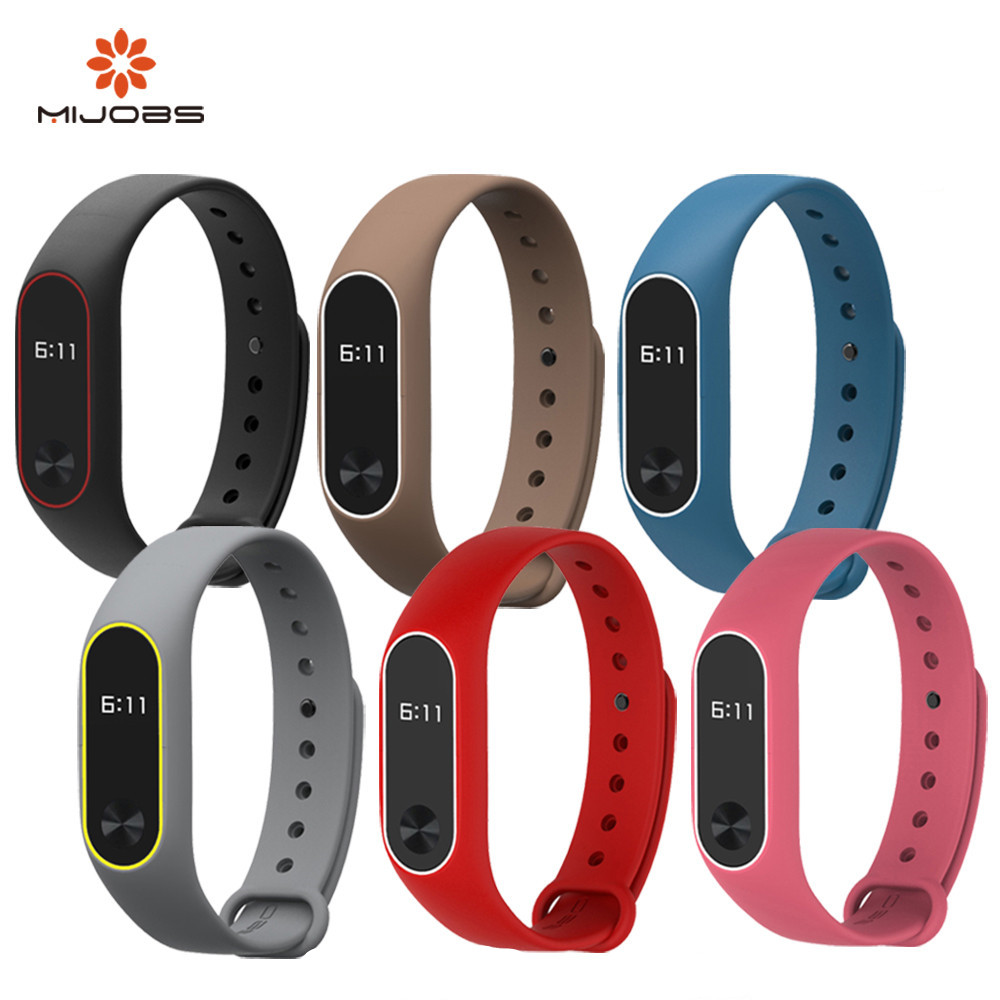 Mijobs for Xiaomi Mi Band 2 Strap Silicone Strap Bracelet Wristband Smart Band Accessories wrist Strap and Screen Protector Film цена