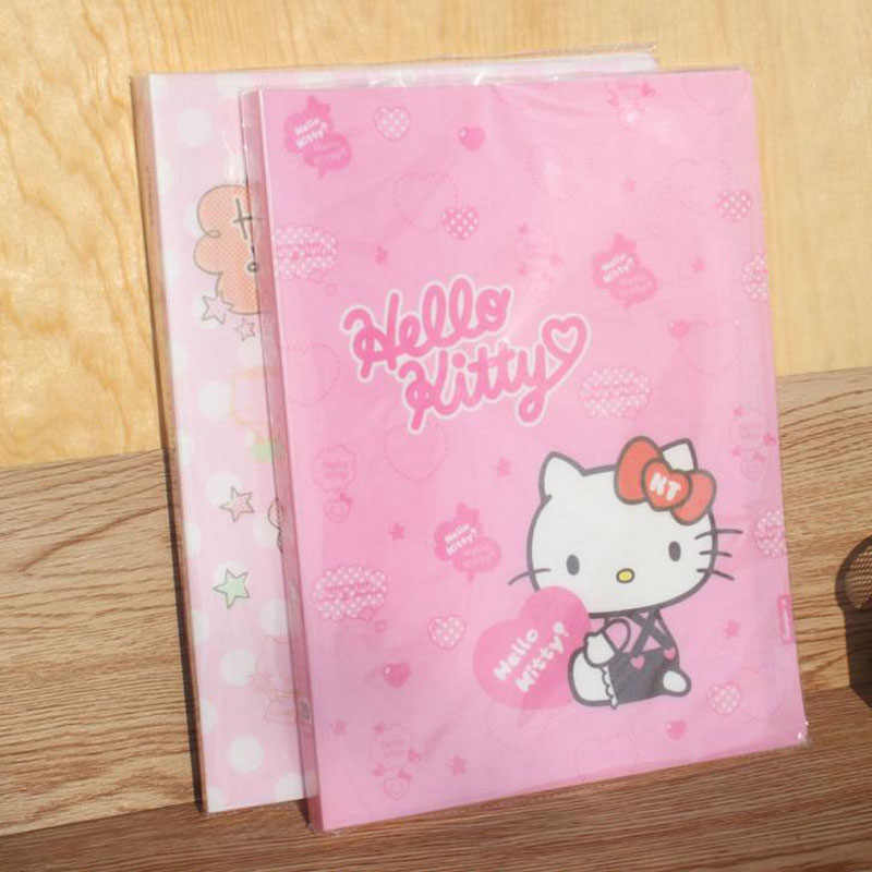 8557f2383 1 Pcs Kawaii Hello Kitty A4 Transparent 20 Pages Lastic Folder Document  Insert File Data Books