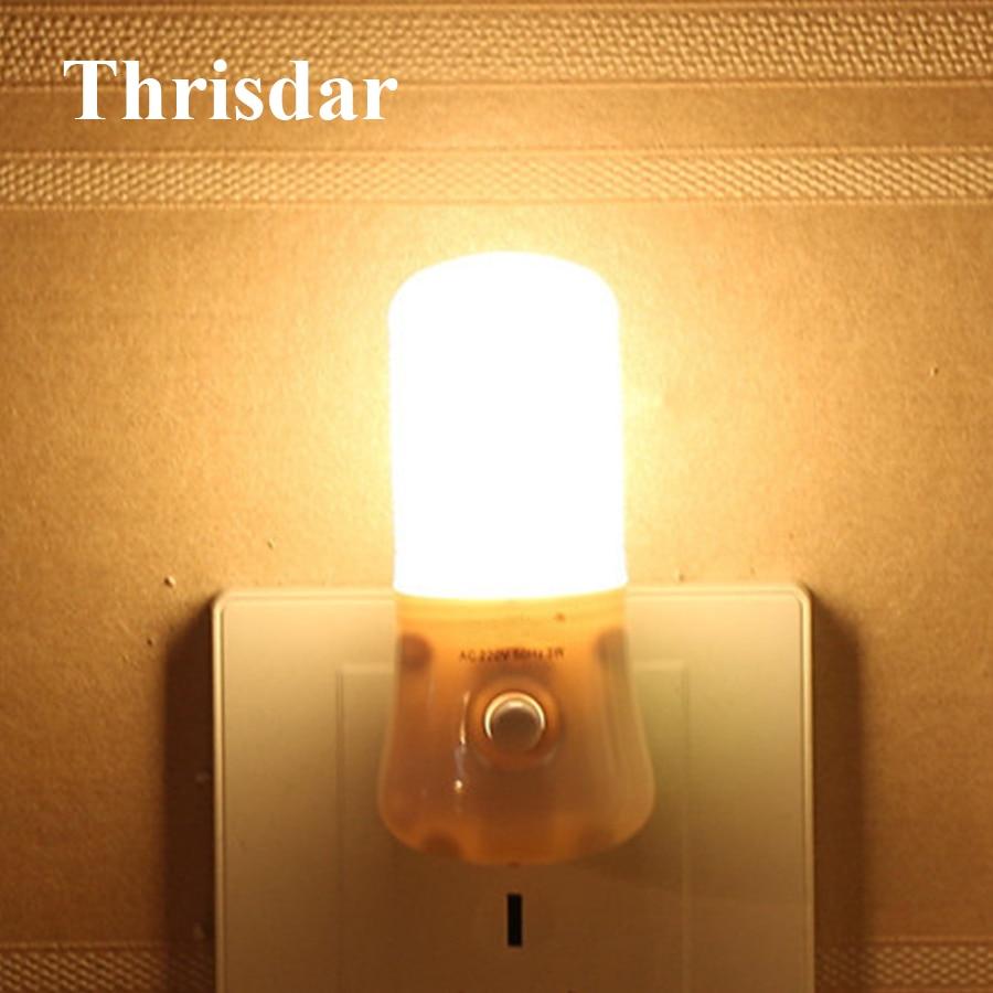 Thrisdar Upgrade 8LED 3W Novetly LED Night Light With Switch Children Bedroom Bedside Wall Socket Night Light Emergency Light