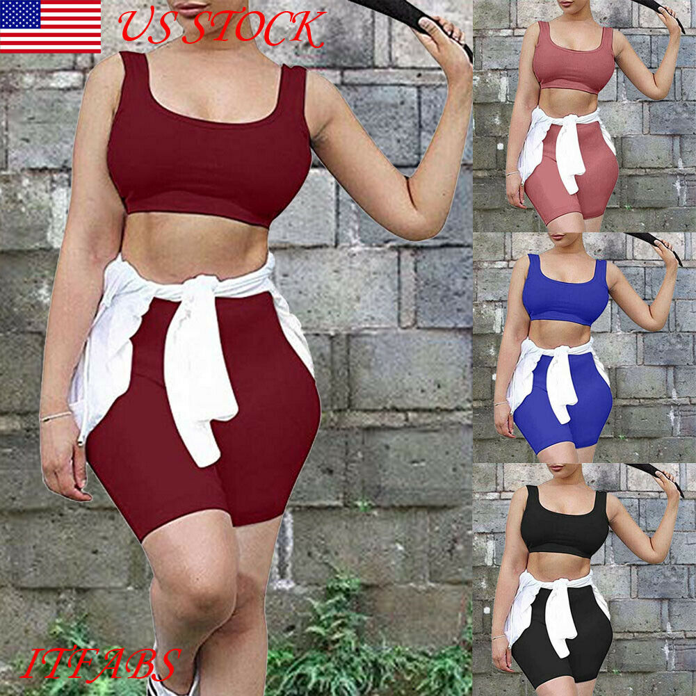 US Women 2 Piece Outfits Sleeveless Crop Top Pants Set Casual Jumpsuit Rompers