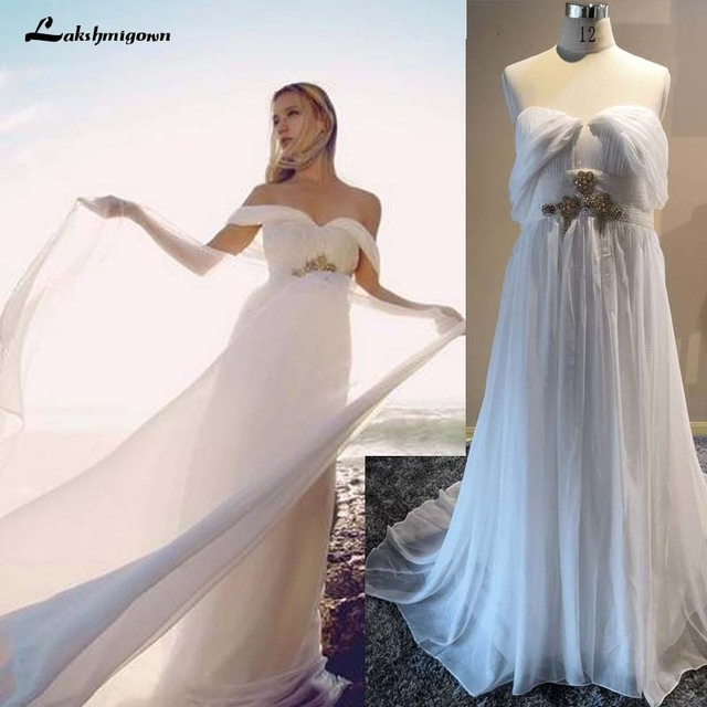 Vintage Szyfonu Suknia ślubna 2018 Plaża Lato White Cap Rękawy Boho
