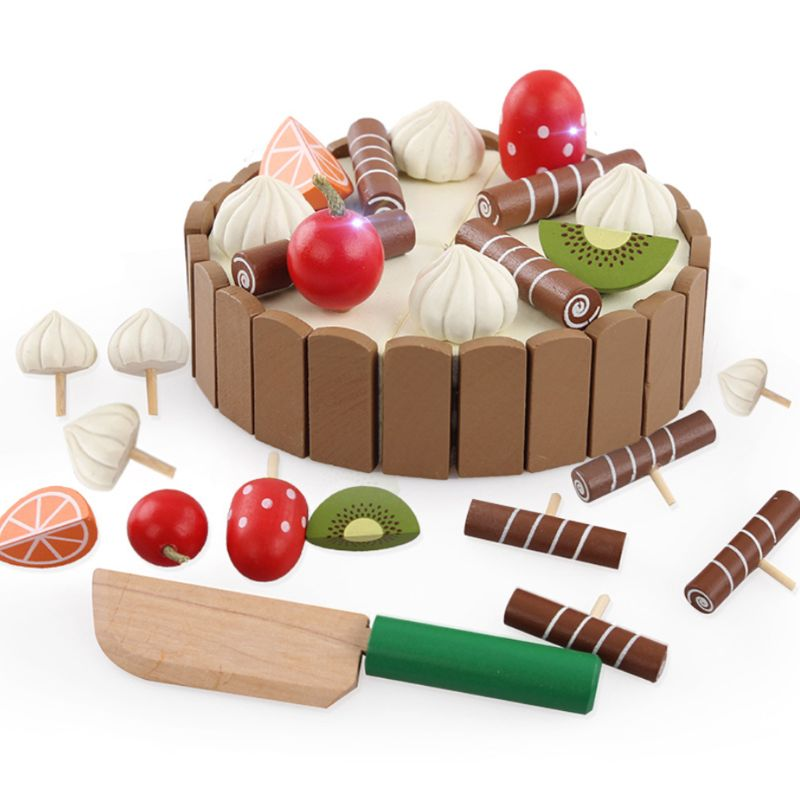 Children Birthday Cake Magnet Wooden Toys Kitchen Pretend Play Fruit Toy Early Cooking Cutter Set Educational Toy Baby Gift