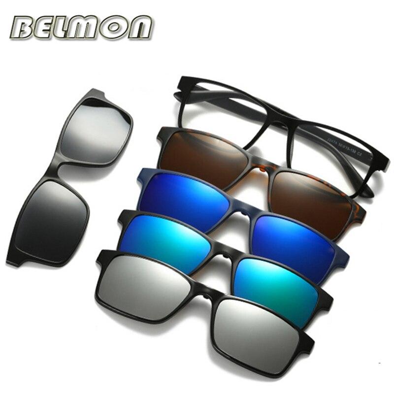 Espetáculo Óptico Quadro Das Mulheres Dos Homens de moda Com 5 Clip Sobre Óculos De Sol Magnética Polarizada Óculos Para Óculos de Miopia Masculinos RS159