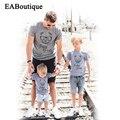 EABoutique мода МЕДВЕДЬ ПАПА МАМА письмо семьи сопоставления одежда мать и дочь одежда семья майка розничная