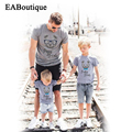 EABoutique  fashion BEAR PAPA MAMA letter family matching clothes mother and daughter clothes family t shirt retail