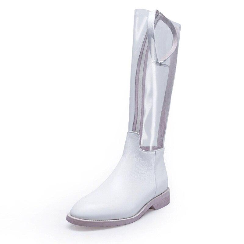 Dames Cuir Genou De Chaussures Haute Vankaring Noir white Automne Nouvelle Black Hiver Femmes Pvc En Marque Bottes Épais Vache Blanc Talons qqEZT
