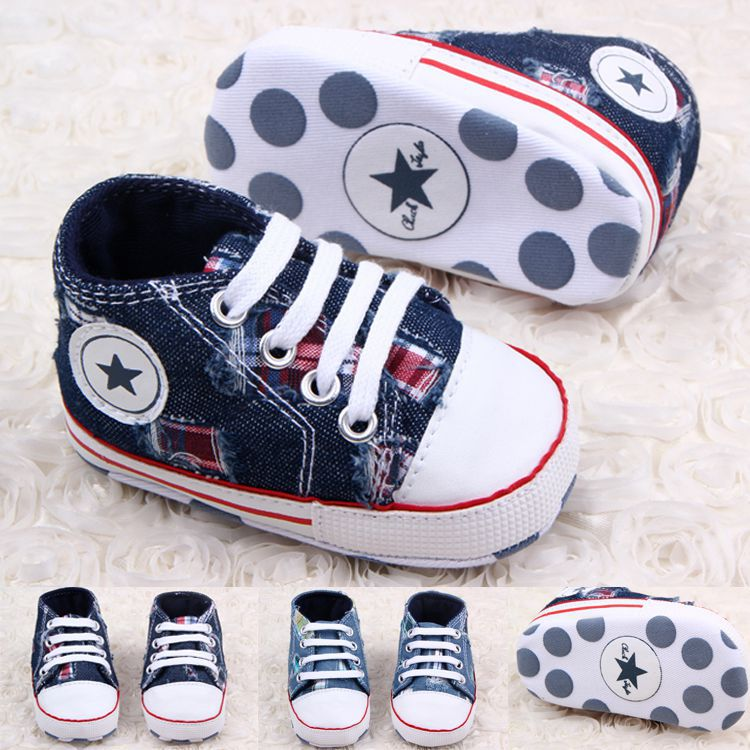 Classic Children Baby Kids Boy Girl Floor Shoes Autumn Fashion Jeans Hole Satrs Non-Slip Soft Toddlers First Walkers