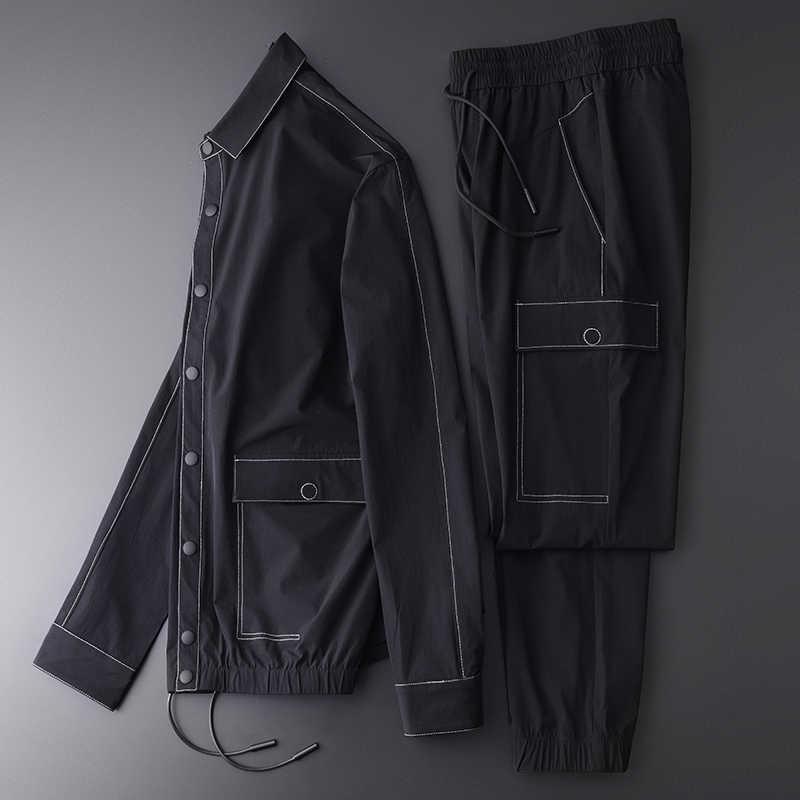Minglu אביב ובסתיו גברים סטים (מעיל + מכנסיים) ניגודיות צבע תפרים מקרית ספורט איש סטים בתוספת גודל 4xl Slim איש מעילים