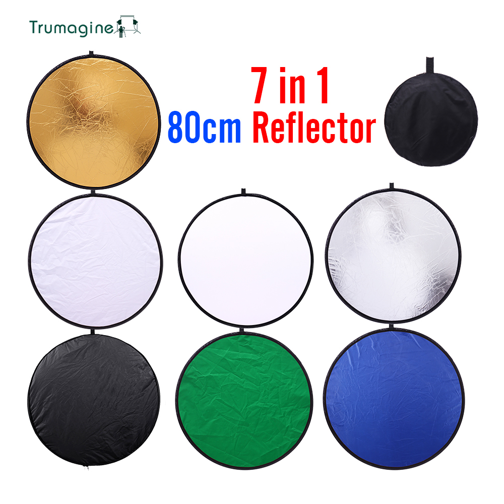 32inch 80cm 7 in 1 Portable Collapsible Light Round Photography Reflector for Studio Multi Photo Disc Photographic Accessories