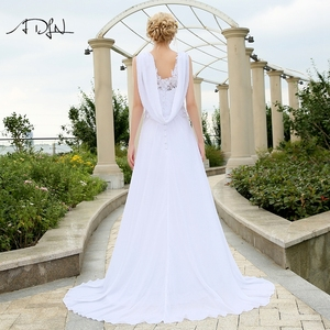 Image 2 - ADLN Cheap Beach Wedding Dresses with Appliques V neck Chiffon Dresses For Wedding White/Ivory Plus Size Bridal Gowns