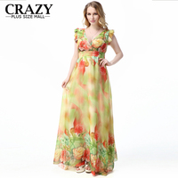 Big Size 7XL 6XL 5XL 4XL XXXL 2019 Brand New Summer Beach Dress Plus Size Women Clothing Maxi Dress Printing Chiffon Dresses
