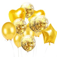14 Rose Gold Sequins Love Five Star Balloon Set Golden Paper Balloons Birthday Party Balloon Decoration 10 pcs