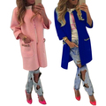 Women's Casual Candy Color Pockets Collarless Coat Greatcoat Long Outerwear