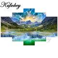 Триптих алмазов картина крестиком водопад пять красочных бисер вышивка DIY Kit Алмазная мозаика пейзажа Foamiran 5 шт.