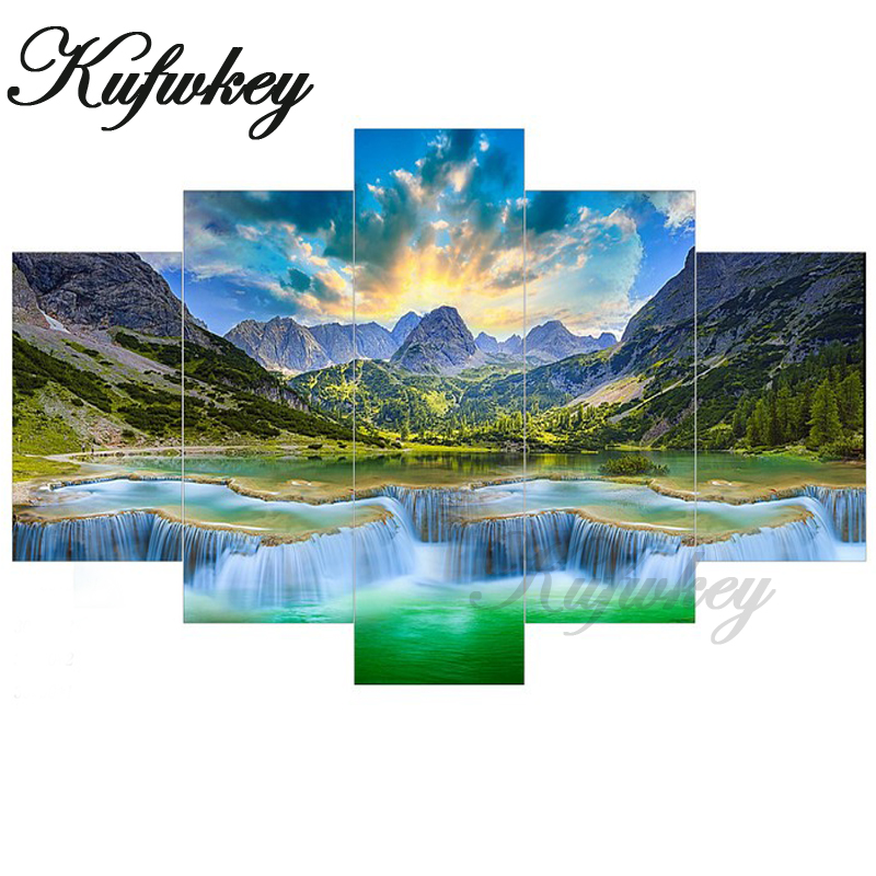 Triptych Diamond Painting Cross-Stitch waterfall Five of paintings beads embroidery DIY Kit Diamond mosaic scenery Foamiran 5pcs