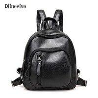 DIINOVIVO Simple Brand Female Black Backpacks Small Zipper Bags Student Designer Travel Bag Solid Rucksack For