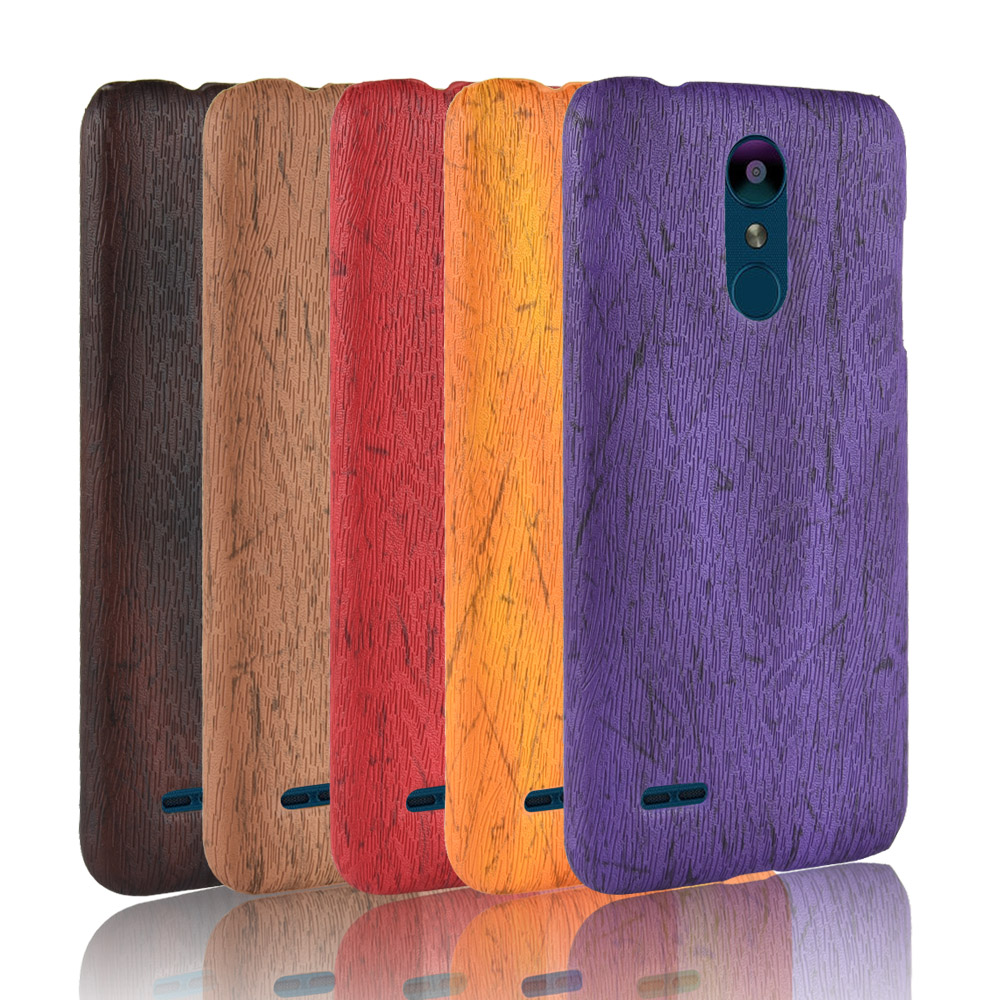For LG K8 2018 Case Hard PC Leather Retro Wood Grain Phone