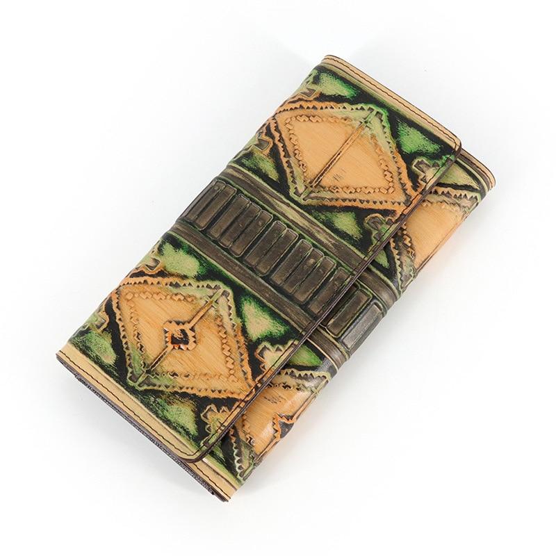 Luxury Brand Design Vintage Handmade Genuine Vegetable tanned Leather Women Retro Wallets Purse Hasp Long Clutch Bag handmade men s genuine vegetable tanned leather handbag purse clutch long wallet