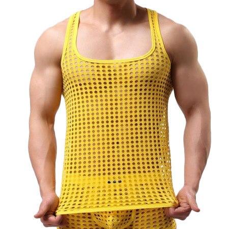 Новые поступления Men' одежда топы и тис выдолбите вне дышащие танк жилет сексуальная мужская топы черный белый майка белье