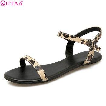 QUTAA 2020 femmes sandales mode chaussures en cuir Pu tout Match sandales à talons bas léopard Westrn Style femmes sandales taille 34-43