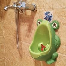 Купить с кэшбэком 1pc Animal Cartoon Design Baby Boy Frog Potty Toilet Urinal Pee Trainer Wall-Mounted Toilet Pee Trainer For 0-6 Ages Children#DS