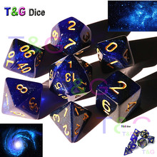 New Trend! Super Universe Galaxy Dice Set D4-D20, Royal Blue Mix սև գույնը Shinny Glitter Effectt- ով զով է DND Boardgame- ի համար