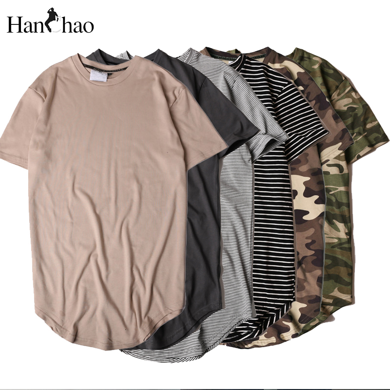 HANCHAO Men's T-shirt 2017summer Solid Color Curved Hem Long Line Camouflage Hip Hop Tshirt Elong Plain Kanye Tee Shirts Men Top