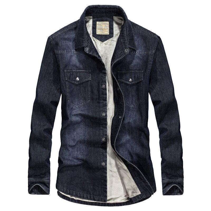 AFS JEEP Mens Shirts Long Sleeve Brand Casual Denim Shirt Men Thick Fleece Winter Men's Shirt Camisas De Hombre Slim Fit Jeans