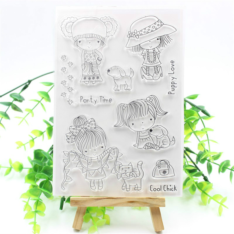 Little Girl And Puppy Transparent Clear Silicone Stamps for DIY Scrapbooking/Card Making/Kids Christmas Fun Decoration Supplies kscraft butterfly and insects transparent clear silicone stamps for diy scrapbooking card making kids fun decoration supplies